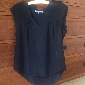100% Silk V-Neck Blouse with Pleating Detail
